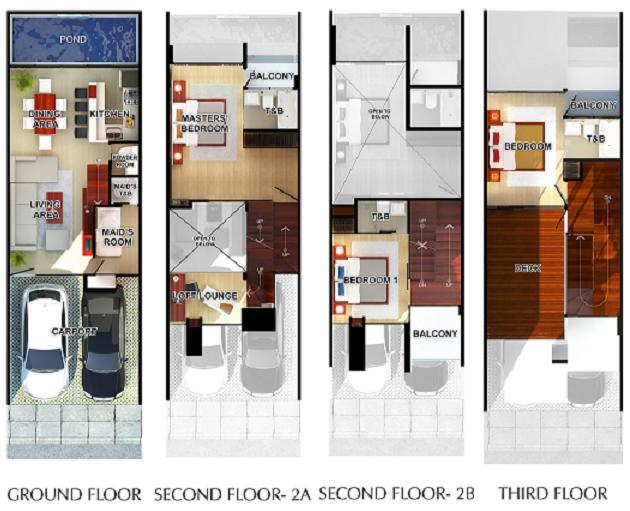 Sofia mahogany place 3 floor plans mahogany place for Townhouse design plans